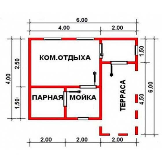 Проект бани 6х4 с террасой и комнатой отдыха