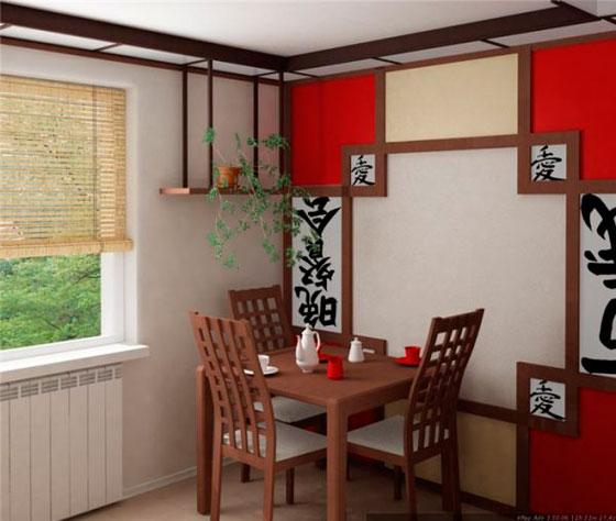 Обои подобраны под кухню в японском стиле
