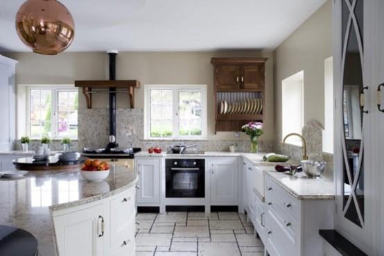 Интерьер современной кухни с использованием мрамора
