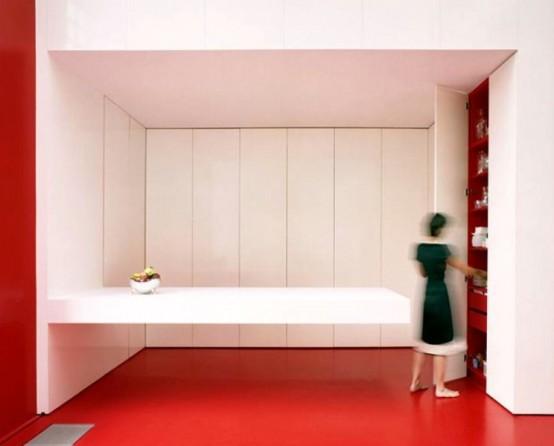 Интерьер современной кухни с откидной панелью