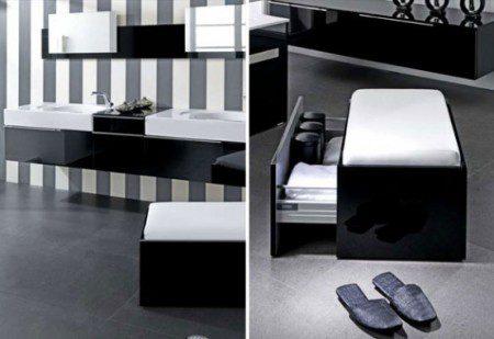 ванная комната в черно-белых цветах