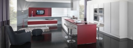 Дизайн кухни в красно белых цветах от Vitali Cucine
