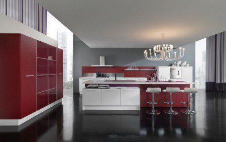 красный и белый цвет в дизайне интерьера кухни