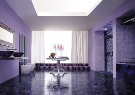 Дизайны интерьера фиолетового цвета
