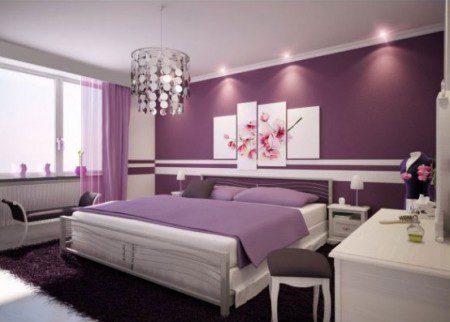дизайны интерьера с использованием фиолетового цвета