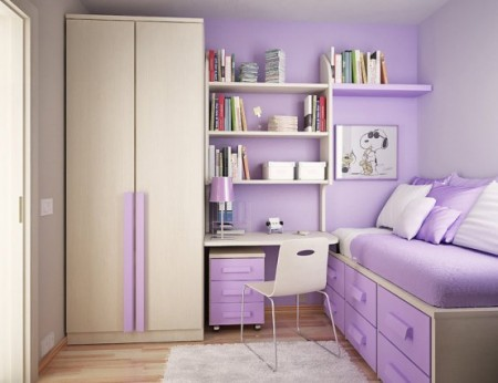 дизайн детской комнаты фиолетового цвета
