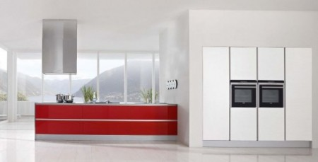 Contemporary-kitchen-in-red-and-white-with-stove-and-high-windows