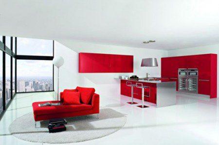 фото кухни в белом и красном цвете