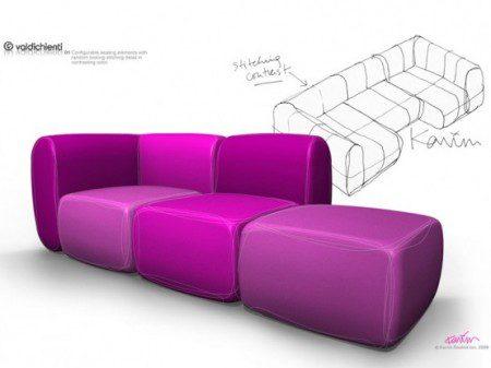 модульный диван в розовом цвете