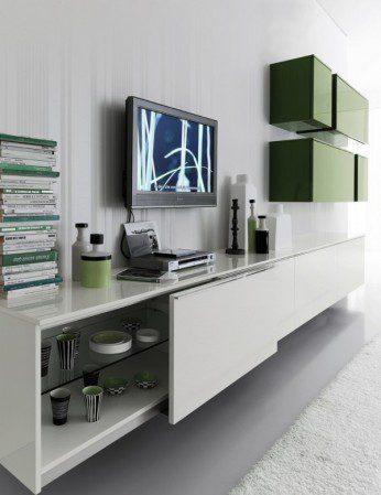 Дизайн гостиной в бело-зеленых цветах