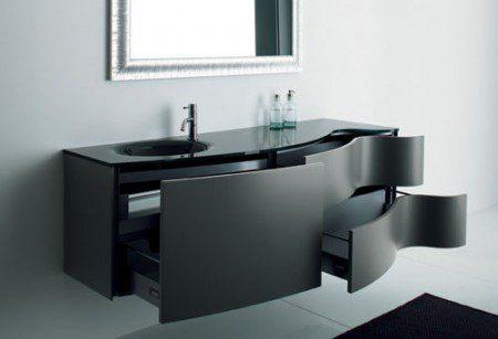 современная черная мебель для ванной комнаты