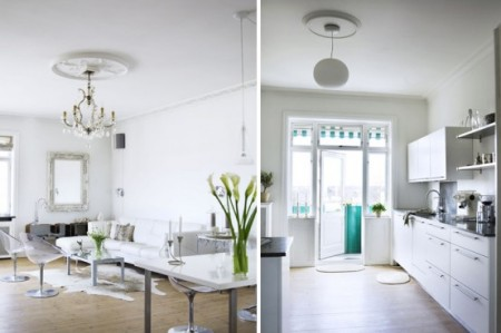Изящный интерьер белой квартиры с современной мебелью