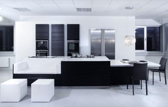 Черно белая кухня от kitcheconcept