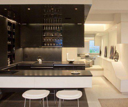 современный дизайн интерьера кухни в частном доме
