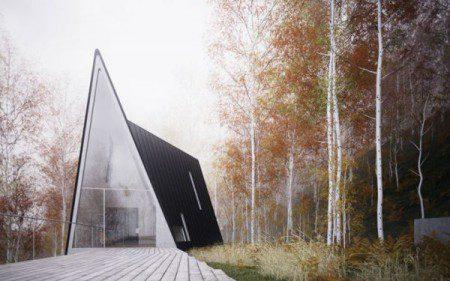 Маленький дом необычной архитектурой в США