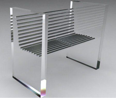 Минималистский стул, изготовленный из стали и акрила