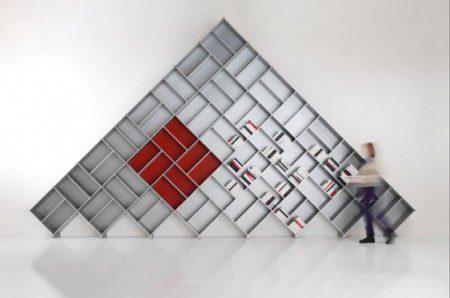 Модульные книжные шкафы формы пирамид
