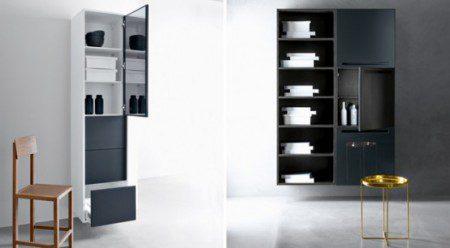 черно белая мебель для ванной комнаты