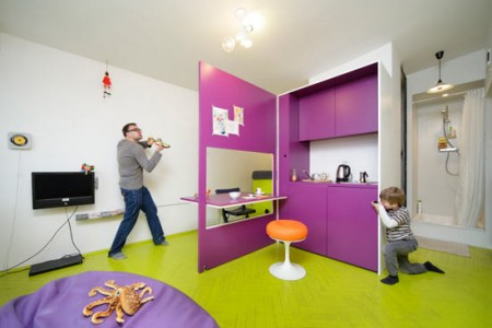 Веселый дизайн интерьера маленькой квартиры