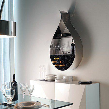 Современные стенные шкафы для вина подобные капле воды