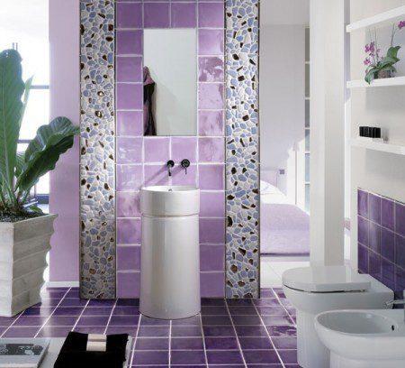 фото фиолетовый дизайн ванной комнаты