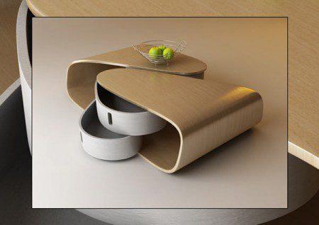 Изогнутый стол с выдвижными ящиками