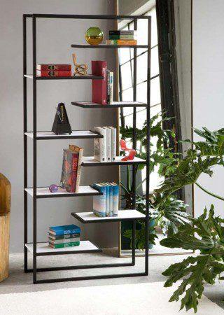 Минималистские стальные книжные шкафы с бамбуковыми полками от Faktura
