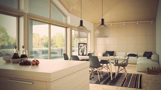Интерьер столовой совмещенной с гостиной