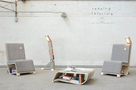 Стул, стол и лампа со встроенными местами для хранения