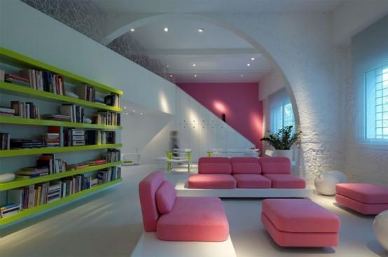 Современный дом, полный света и цвета
