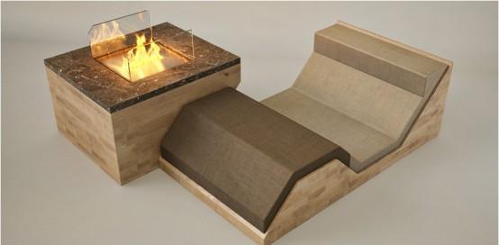 Камин, диван и журнальный столик в одном