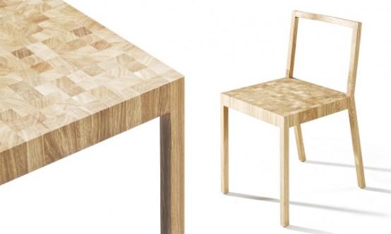 Обеденный стол и стулья в пикселях