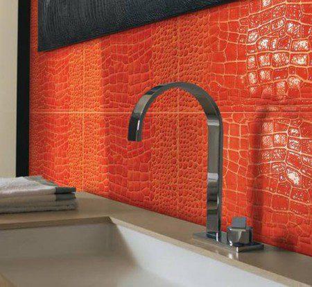 Плитка в стиле крокодильей кожи для ванной комнаты