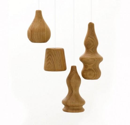 Деревянные подвесные светильники