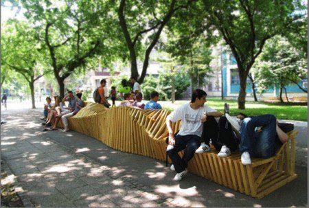 Оригинальная городская мебель: скамья 1000см