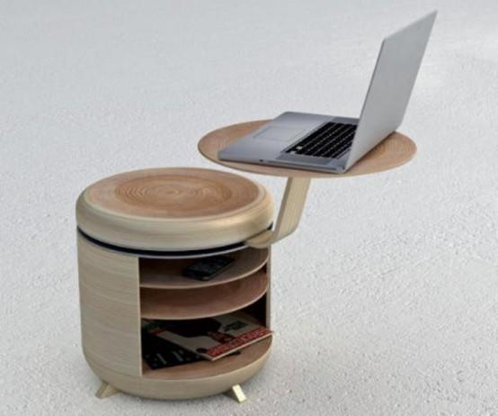 Функциональный модульный блок хранения данных, выступающий в качестве стула и стола