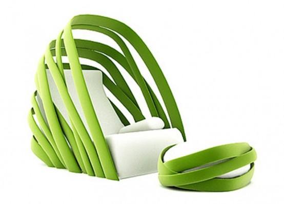 Кресло зеленого цвета