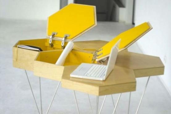 Столик, напоминающий пчелиные соты