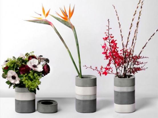 Минималистские вазы из бетона