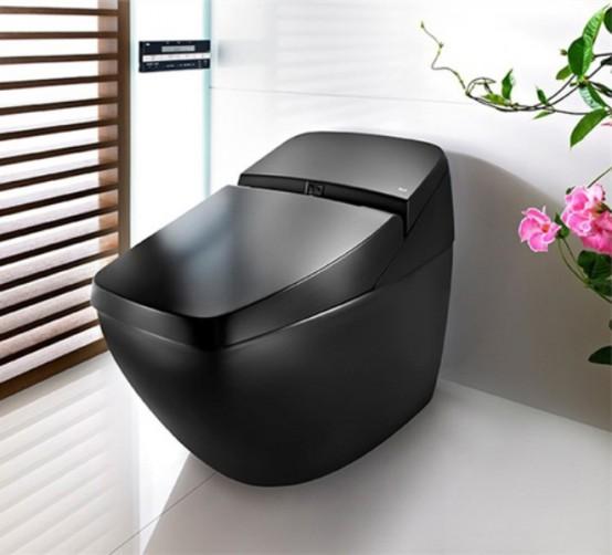 Черный туалет в стиле Hi-Tech