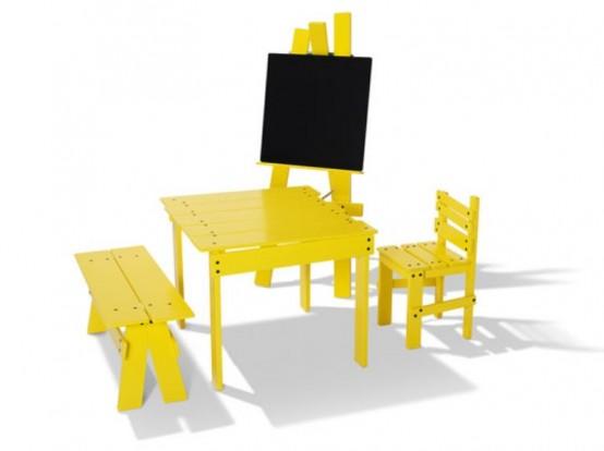 Забавная желтая детская мебель