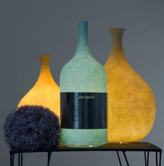 Уникальная лампа в форме красивой бутылки