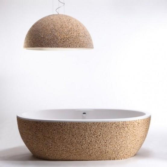 Современное оформление ванной комнаты из дерева