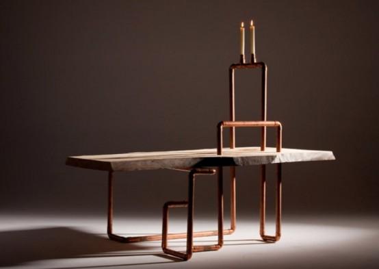 Журнальный столик в промышленном стиле