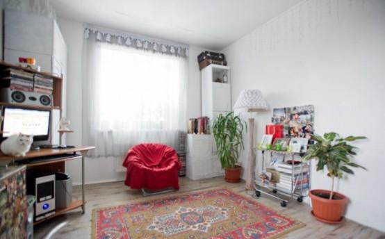 Динамический интерьер с винтажной мебелью 8