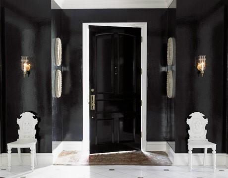 Дизайн коридора в черно-белом цвете 2