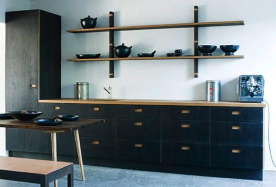 Коллекция кухонной мебели в темных тонах 1