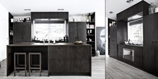 Коллекция кухонной мебели в темных тонах