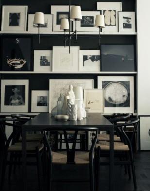 Столовая в черно-белом цвете: 21 фото 14