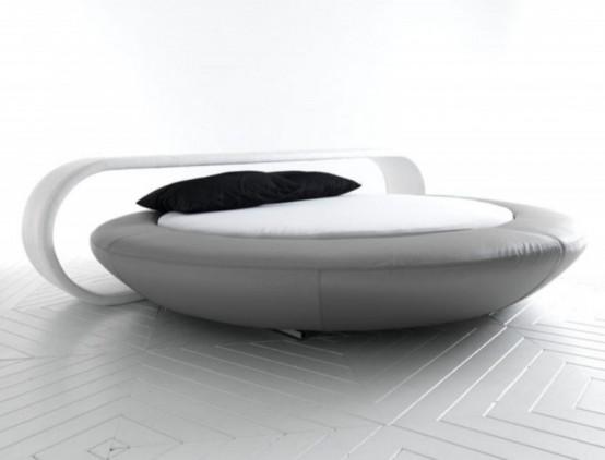 Удобная кровать: минималистская и круглая